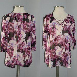 Lane Bryant Floral Watercolor Sheer Blouse HW5373
